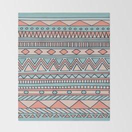 Tribal #4 (Coral/Aqua) Throw Blanket