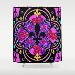 French Decorative Fleur de Lys Abstract Design  Shower Curtain