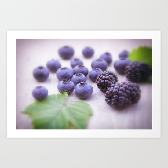 Blue Fruits Art Print