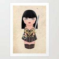 xena Art Prints featuring Kokeshi Xena, warrior princess by Pendientera