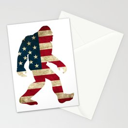 Bigfoot american flag Stationery Cards