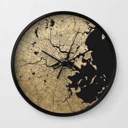 Boston Black and Gold Map Wall Clock