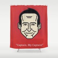 "robin williams Shower Curtains featuring ROBIN WILLIAMS - ""Captain, My Captain!"" by Gerardo Lisanti"