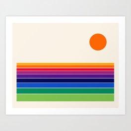 Coolie - retro 70s style throwback sunset sunrise socal cali beach vibes Art Print