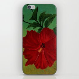 Red hibiscus iPhone Skin