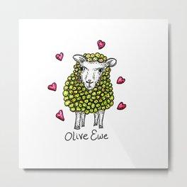 Olive Ewe Metal Print