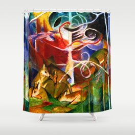 Franz Marc Deer in the Forest Shower Curtain