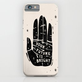 Your Future is Bright Hand Drawn Illustration - Black on Ivory | Alex Gold Studios iPhone Case