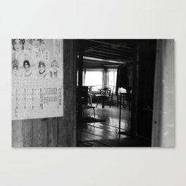 Street Photo - Vacant Home Empty Chairs - Black and White Canvas Print