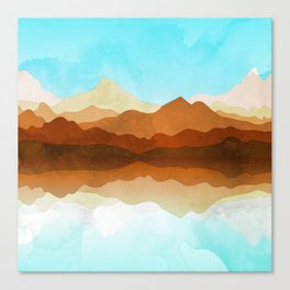 Western Sky Reflections In Watercolor Canvas Print
