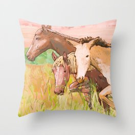 3 little horses on the prairie painting Throw Pillow