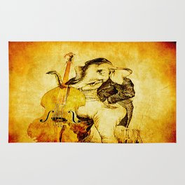 The elephant in the double bass Rug
