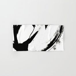 Brushstroke 6: a minimal, abstract, black and white piece Hand & Bath Towel