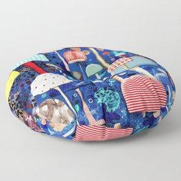Blue Mushrooms - Zu hause Marine blue Abstract Art Floor Pillow