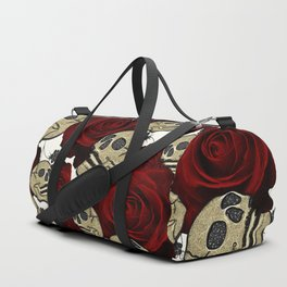 Red Roses & Skulls Black Floral Gothic White Duffle Bag