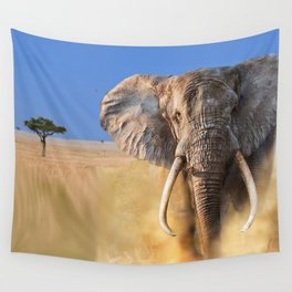 Charging bull elephant Wall Tapestry