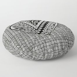 Modern, black and white, geometric shaped heart Floor Pillow