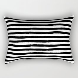 Black And White Hand Drawn Horizontal Stripes Rectangular Pillow