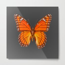 CHARCOAL GREY ORANGE MONARCH BUTTERFLY Metal Print