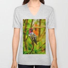 Pink Throat Hummingbird Unisex V-Neck