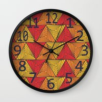 Wall Clocks featuring Geometric  by Vickn