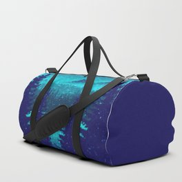 Pine forest in blue Duffle Bag