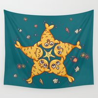 starfish Wall Tapestries featuring StarFish by Lili Batista