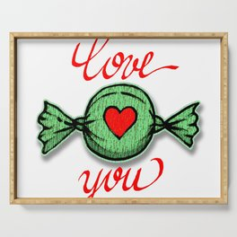I love you (green) written in red Serving Tray