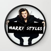 harry styles Wall Clocks featuring Harry Styles  by girllarriealmighty