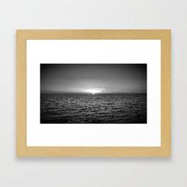 summer sunset at peroj beach croatia istria black white Framed Art Print