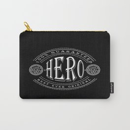 100% Hero (white 3D effect badge on black) Carry-All Pouch