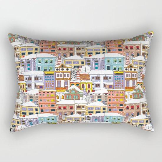Winter town pattern Rectangular Pillow
