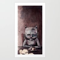 hemingway Art Prints featuring Hemingway cat by Jonathan Silence
