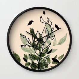 Green and black leaves Wall Clock