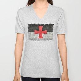 Knights Templar Flag in Super Grunge Unisex V-Neck