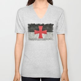 Knights Templar Flag in Super Grunge Unisex V-Neck