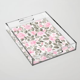 "Loose watercolor florals in pink and grey, ""Miriam"" Acrylic Tray"