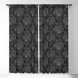eyes adorned - black Blackout Curtain