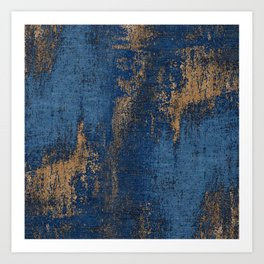 NAVY BLUE AND GOLD PATTERN Art Print