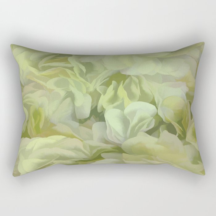 Soft Green Petal Ruffles Abstract Rectangular Pillow