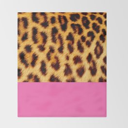 Leopard skin with hot pink Throw Blanket