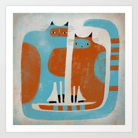 TWO CATS WAITNG Art Print