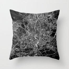 Madrid Black Map Throw Pillow
