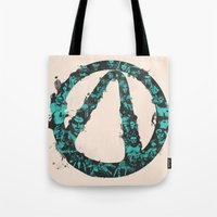 borderlands Tote Bags featuring Borderlands 2 by Bill Pyle