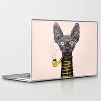 black cat Laptop & iPad Skins featuring Black Cat by dogooder