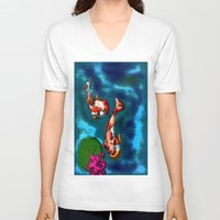 koi fish V-neck T-shirts featuring KOI FISH by aztosaha