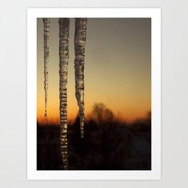 Icicles at Dawn Art Print
