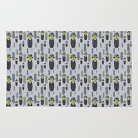 magritte Area & Throw Rugs featuring Kokeshi Magritte pattern by Pendientera