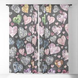 Heart Diamonds are Forever Love Black Sheer Curtain