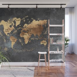 world map 147 gold black #worldmap #map Wall Mural